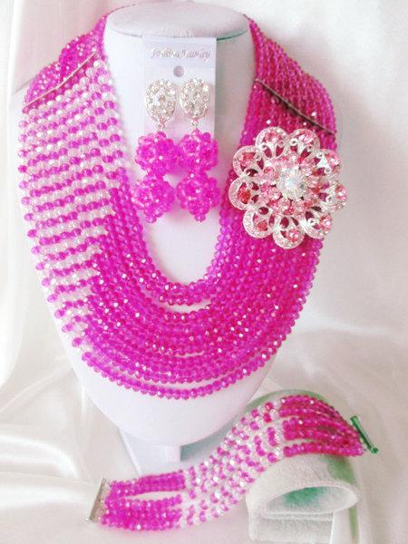 Fashion Nigerian African Wedding Beads Jewelry Set , Crystal Necklace Bracelet Earrings Set C099<br><br>Aliexpress