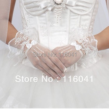 In Stock wrist Length Lace Trim Evening/party/prom Gloves Bridal Gloves(China (Mainland))