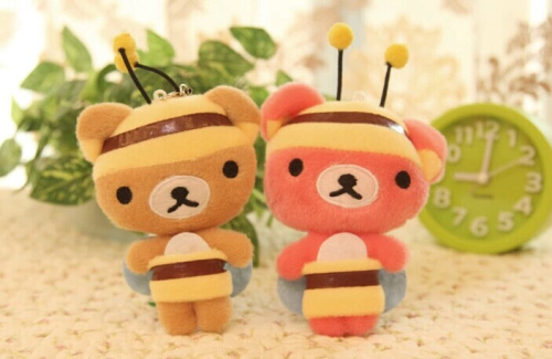 Kawaii NEW Honey BEE Rilakkuma Bear 14.5CM Plush Stuffed Keychain Phone Charm Strap DOLL TOY BAG Wedding Bouquet TOY Gift DOLL(China (Mainland))