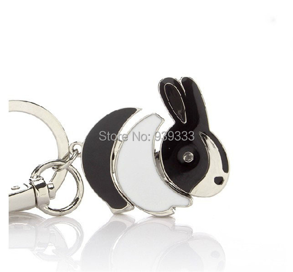 Exquisite epoxy painted rabbit drop charm key chains, custom jewelry hare fob key rings with stones, China factory wholesale,(China (Mainland))