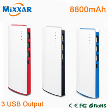 8800mAh 3 USB Port Power Bank External Battery Powerbank Portable Charger for iPhone 4S 5S 6 6plus for Sony Samsung HTC