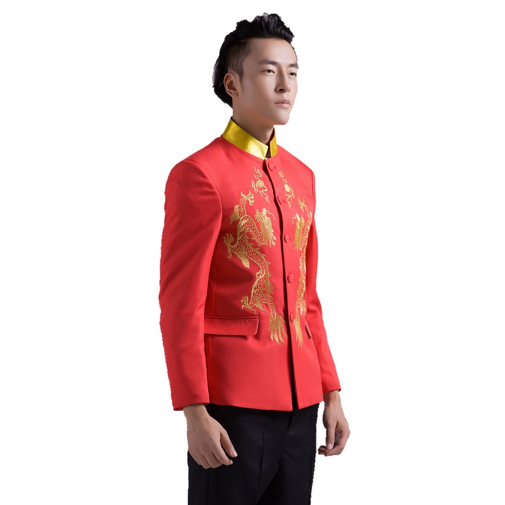 Chinese Style Wedding Tuxedo Suits Ssangyong Big Red Embroidered Collar Men Elegant Dress Suit