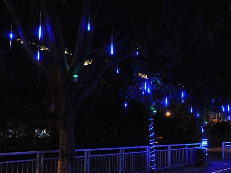 Hang Led Snowfall Meteor Rain Tube Light Christmas Wedding Blue Outdoor Tree Garden Decoration