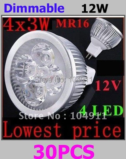 Bulk Sale High power Dimmable led bulb MR16 4x3W 12W Rotundity LED Lamp LED Light Bulb Downlight Energy Saving NEW(China (Mainland))