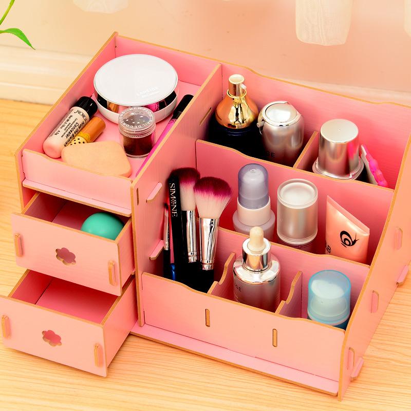 Wooden Cosmetic Makeup Desktop storage box organizer with drawers DIY creative desktop storage rack shelf pen holder pencil box(China (Mainland))