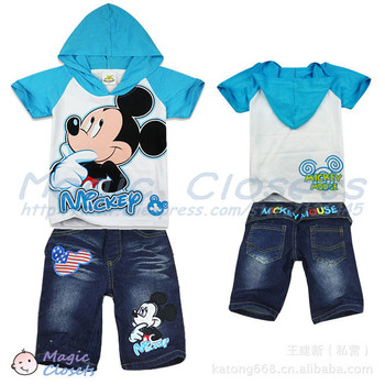 Free shipping,2color,2013NEW,6pieces/lot,children set,Mickey Mouse suits, short-sleeved, jeans,Sweater,hoodie children pant