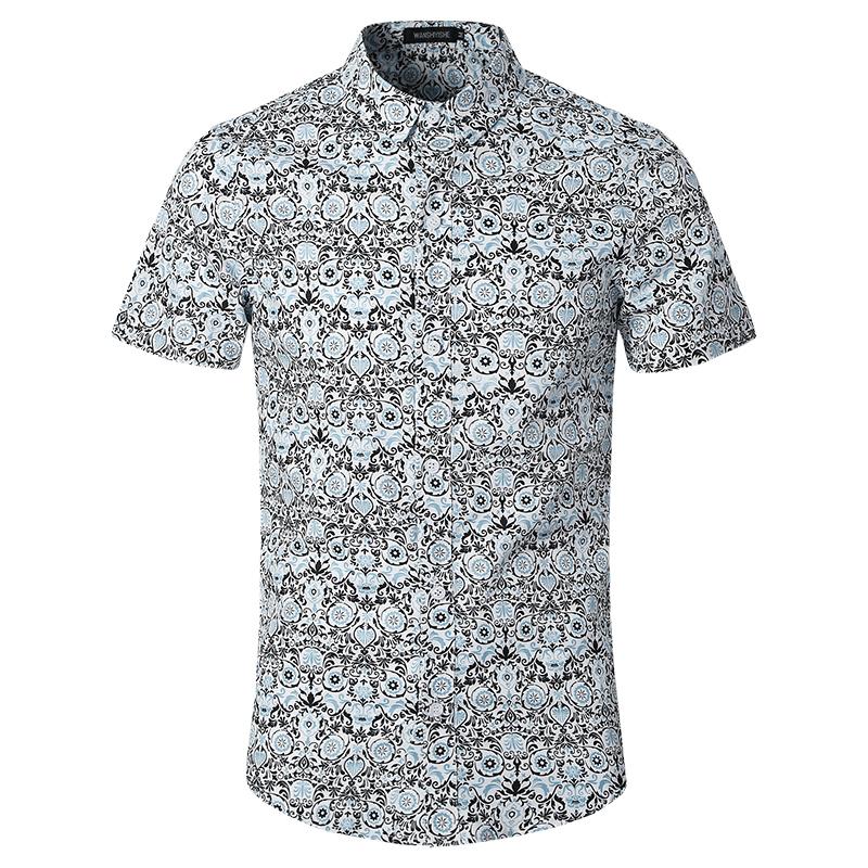 2016 Summer Floral Shirts Men Cotton Men Short Sleeve Shirt Slim Fit Men Hawaiian Shirts Casual Slim Fit Wholesale&Retail(China (Mainland))
