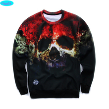 new arrive street fashion 3D Horror Skull printed hoodies boys teens Spring Autumn thin sweatshirts big kids jogger  W16