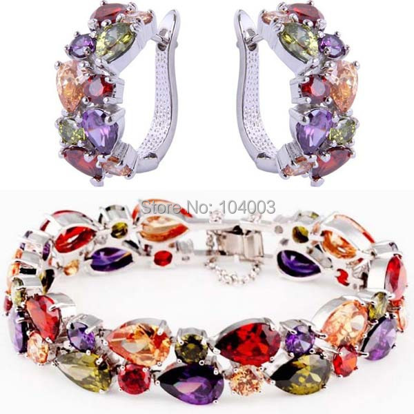 7 Colors Women Fashion Jewelry Hoop Earrings + Charm Bracelets 10kt Rose / White Gold Filled Accessory Sets Best Selling