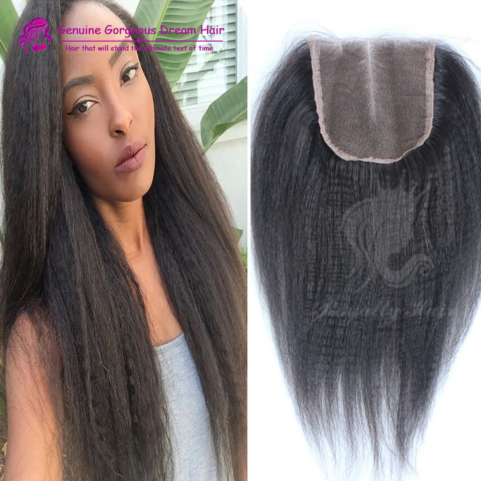 Can Be Dyed 1b Color Natural Black 3.5*4 Kinky Straight Closure Unprocessed Malaysian Virgin Human Hair Closure Middle Part<br><br>Aliexpress
