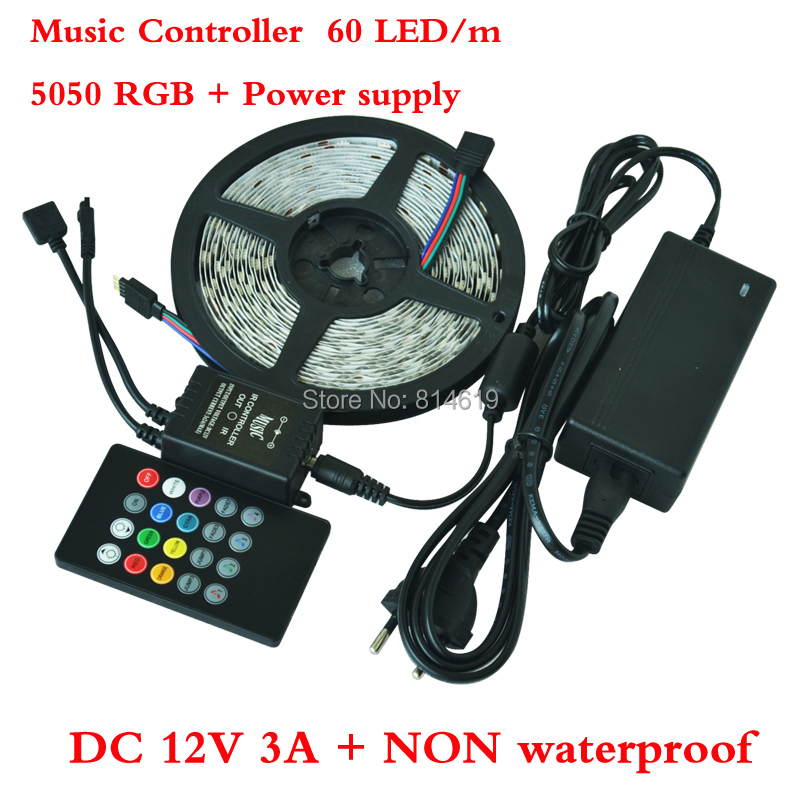 Hot sales 5050 RGB LED strip 5m/Roll 300LEDs with new style IR music controller+12V 3A Power supply Free Shipping by china post(China (Mainland))