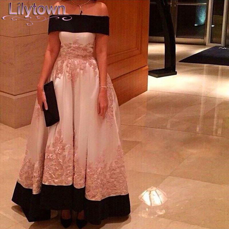 2015 New Style Fast Delivery Saudi Arabia Singer Myriam Fares A-Line Satin Shoulder Cute Embroidery Plus Celebrity Dress - Lilytown's Wedding Store store