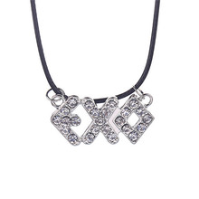 Fashion Korean Star EXO Pendant Necklace Letter Rhinestone Necklace Wholesale 20pcs/lot(China (Mainland))