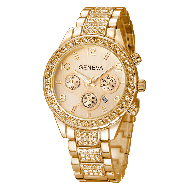 10pcs/lot Geneva Watch Wholesale Price 2017 Casual Crystal Rhinestone Dress Clock Rose Gold Stainless Steel Watches 3 Colors