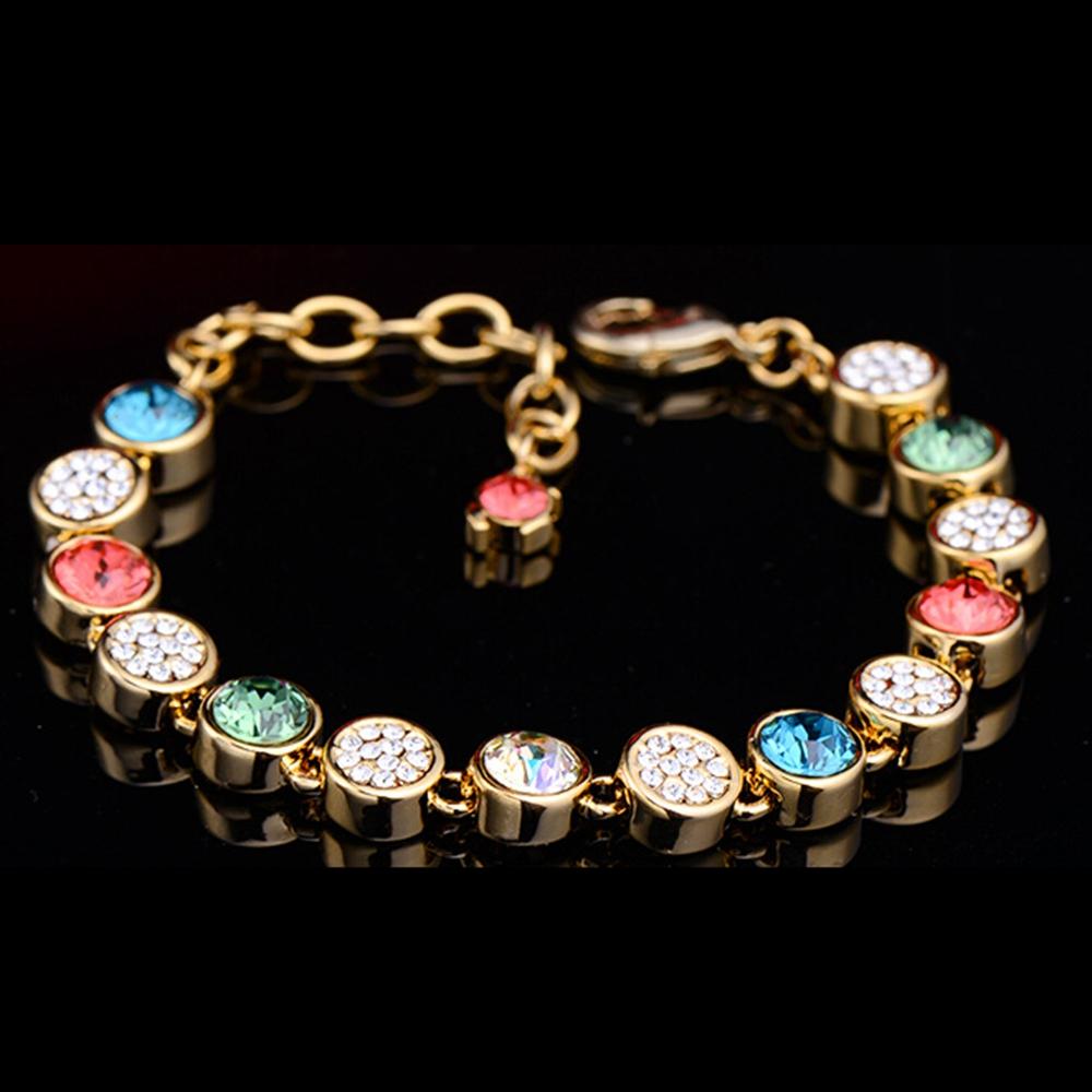Rainbow Shiny Chain 18k Yellow Gold Filled Womens Braclet Fashion Gift(China (Mainland))