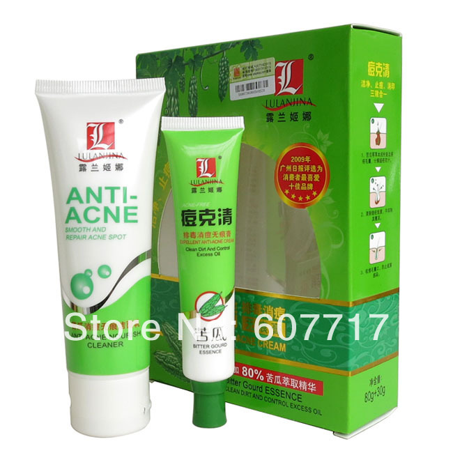 Wholesale lulanjina anti acne set Bitter Gourd Essence cleaning removal acne and fade out scar 4sets/lot<br><br>Aliexpress