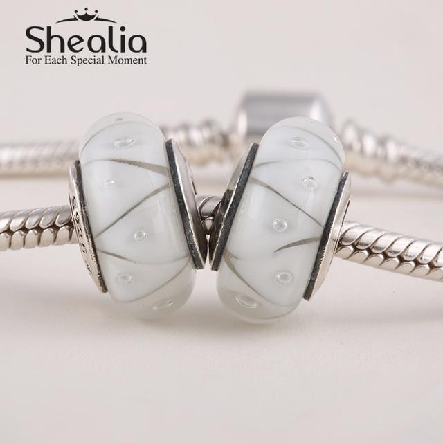 2015 новые подлинные серебро 925 зазеркалье с белыми муранского стекла бусины подходит известный бренд diy шарм браслеты Ht135