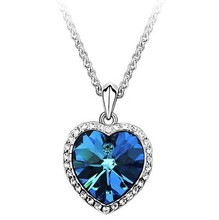 Fashion Neoglory Titanic Ocean Heart Pendant Necklace For Women Crystal Rhinestone Jewelry Gift New Sale free shipping N121