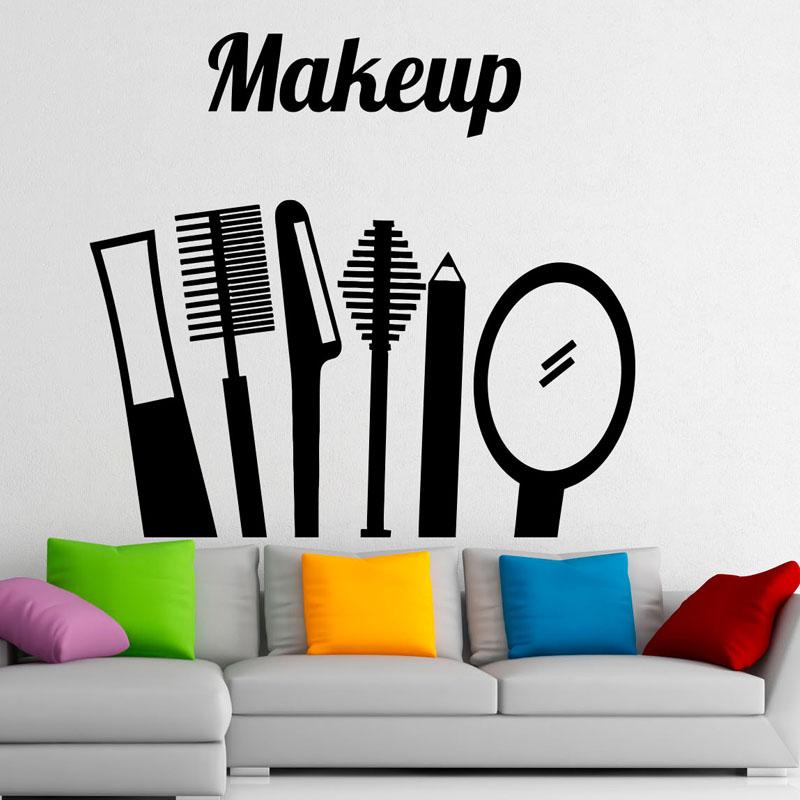 Make Up Beauty Salon Tools Wall Decals Vinyl Fashion Design Girls Bedroom Home Decor Dorm Room Wall Art Murals(China (Mainland))