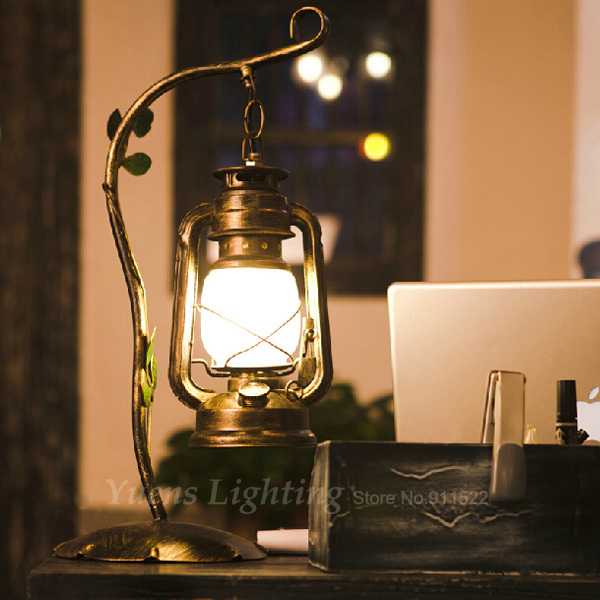 Contracted Antique Wrought Iron Sitting Room Bedroom Creative Lantern Kerosene Retro Table Lamps TL098 Free Shipping(China (Mainland))