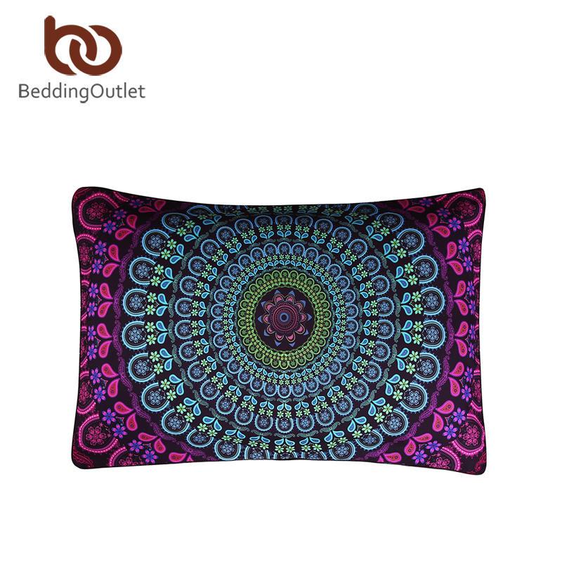 BeddingOutlet Boho Pillow Case Posture Million Printed Pillowcases Floral Square Bedclothes 1Pc 50x75cm/50x90cm Hot(China (Mainland))