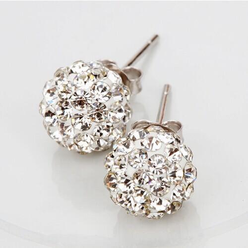 2015 Fashion Shamballah Jewelry Silver Rhinestone Crystal 8MM Shambhala Beads stud earrings mix colorful(China (Mainland))
