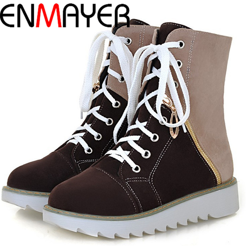 ENMAYER fashion mixed-color round toe short boots flock upper skidproof lace-up autumn shoes free shipping women boots with zip<br><br>Aliexpress