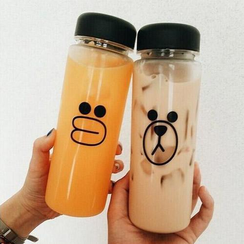 Water bottles Bear chick pattern My bottle 500ml Korea special plastic Fruit Bottle Lemon Juice Readily Cup Drinking 2015(China (Mainland))