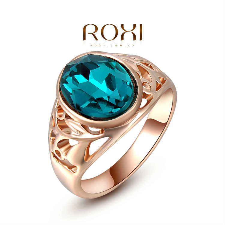 ROXI Christams Gift Classic Genuine Austrian Crystals Sample Sales Rose Gold Plated Blue Stone Ring Jewelry Party OFF(China (Mainland))