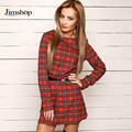 Jimshop Autumn Fashion Elegant Red Plaid Long Sleeve Slim O neck Fit Dress Contrast Lattice Dress