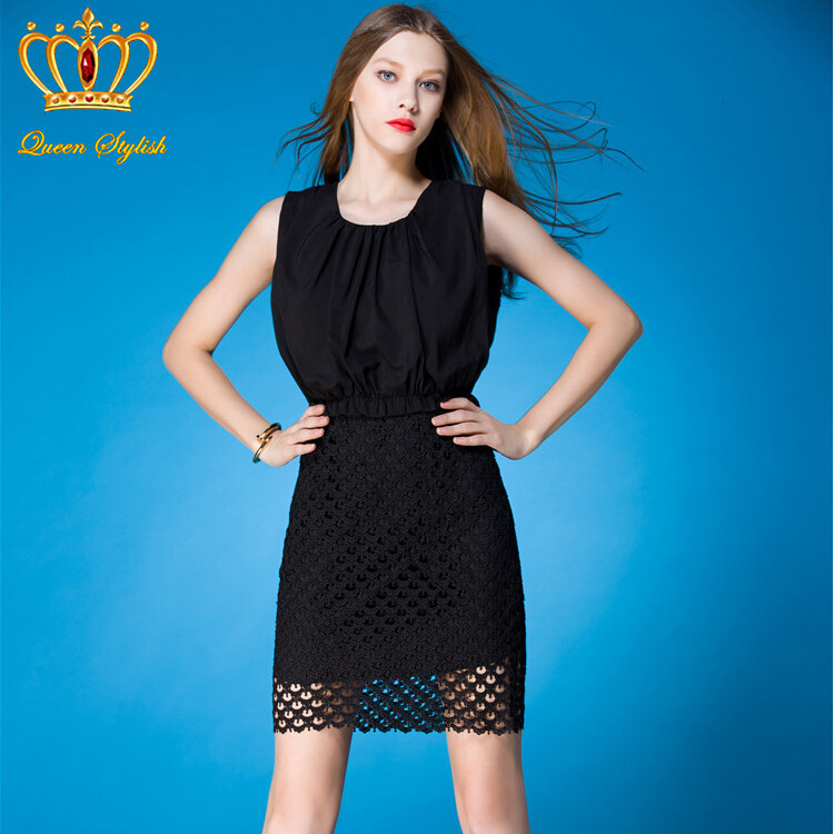 Euro Star Style Cutout Summer Catwalk Dress 2015 High-End Boutique Hollow Little Black Dress Women Night Dress Uk 52070(China (Mainland))