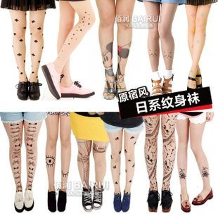 Spring/Autumn tattoo stockings lady pantyhose tattoo tights 21 styles for reference