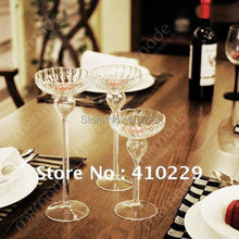 Free Shipping (1set=3pieces) Candle Holder,Glass Tableware,Wedding,Home Decoration(China (Mainland))