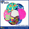 10pcs Men Women Polyester Flexible Patterned Water Sport Pool Swimming Bathing Caps Hat Various Color Nylon