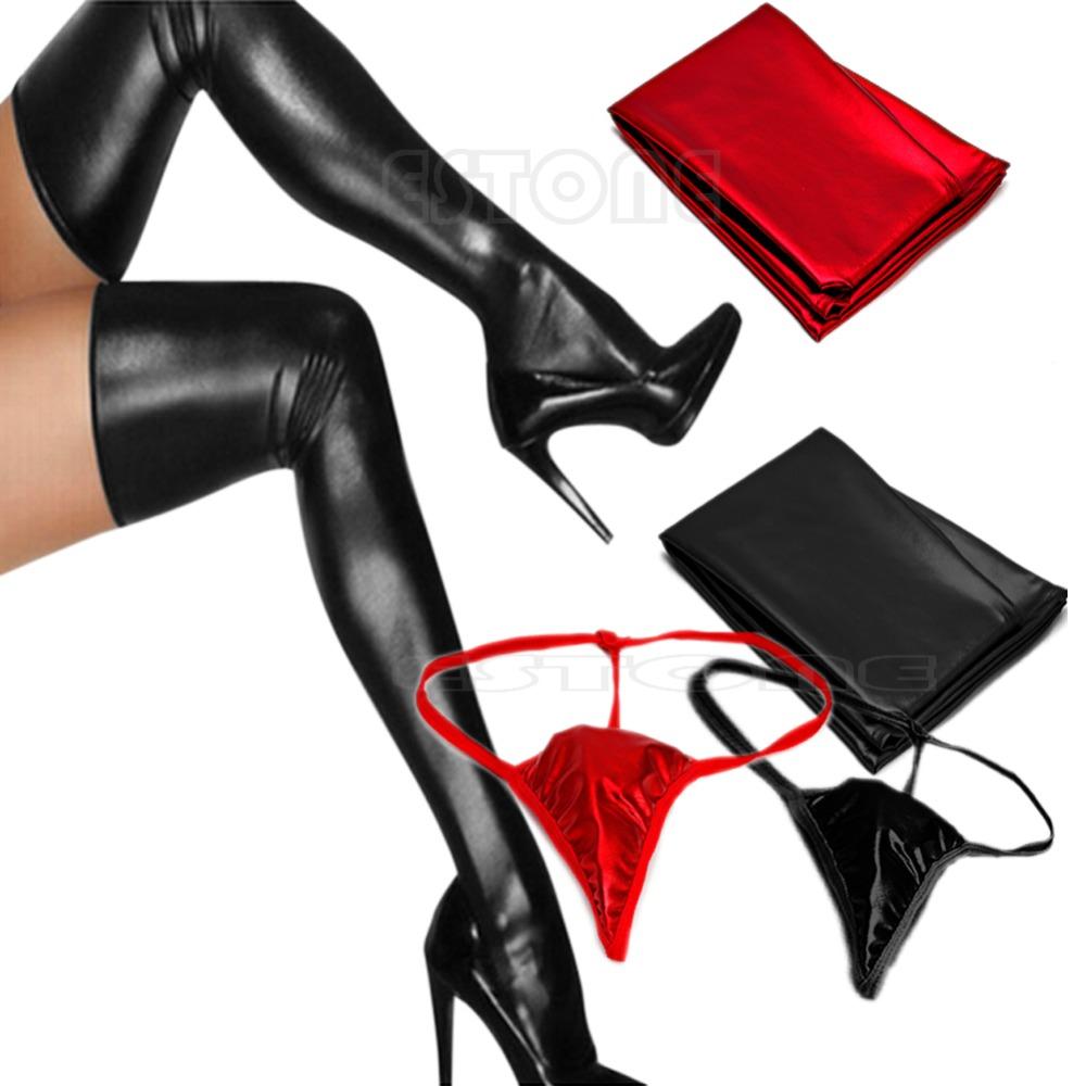 Sexy Fashion Women Spandex Latex Rubber Long Stockings Thigh Tights Hosiery(China (Mainland))