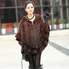 Fashion 100% Genuine Mink Fur Shawl Poncho With Hoody Women Knitted Mink Fur Coat Winter Furs F10(China (Mainland))