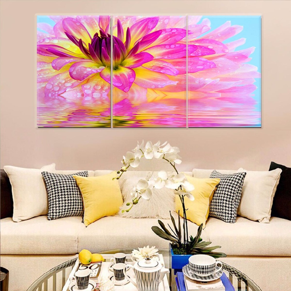 3 Piece Wall Art Canvas Prints Large Color Flower Graffiti Unframed Canvas Picture Oil Painting Wall Art For Living Room(China (Mainland))