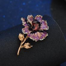 Terreau Kathy Fashion Rose Bunga Kristal Bros untuk Wanita 2019 Dress Syal Bros Pin Perhiasan Baik Aksesoris(China)