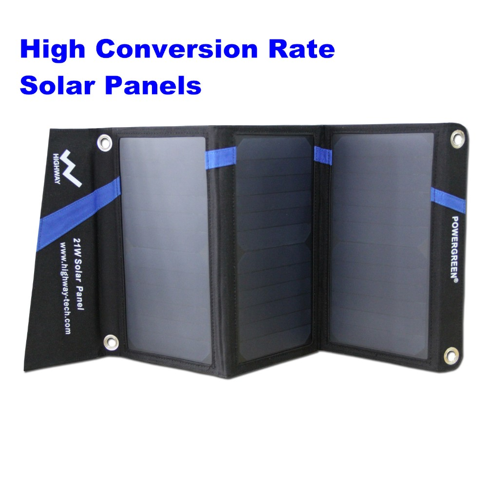Solar Charger PowerGreen 21 Watts External Battery Backup Foldable Solar Power Bank SUNPOWER Panel Solar Bag for Mobile Phone