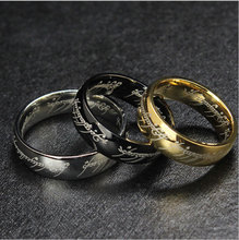 new Hot Sale The Hobbit And The Lord Of The Rings Stainless Steel 18K Gold Plated Men Ring Free Shipping