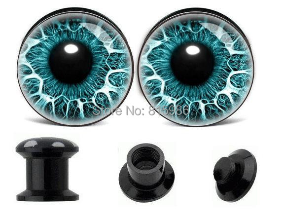 2015 New 4-25mm Acrylic Screw Fit Blue Eye's Logo Ear Gauge Plugs Flesh Tunnel Kit Piercing Hollow Expander Body Jewelry - JK Factory store