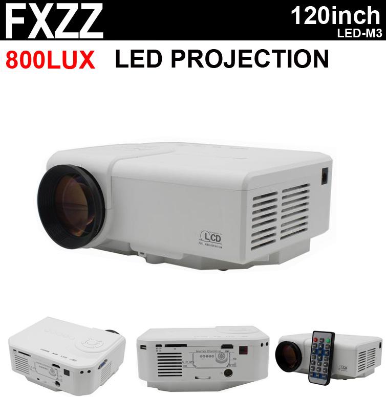 New 3D Home Education Cinema 800Lux 800:1 Mini LED Projector Multimedia AV TV VGA HDMI USB TF Free S