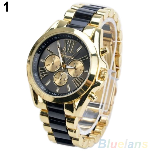 Men Watch Fashion Geneva Stainless Steel Roman Numerals Quartz Analog WristWatches 1Q8M - Donge Jia's store