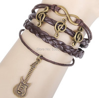 Multilayer Braided Rock Notes&Guitar Shape Bracelet Multicolor Woven Leather Bracelet Friend Gifts Good Choose