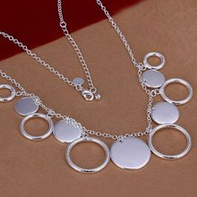 Hot Sale!!Free Shipping 925 Silver Necklace,Fashion Sterling Silver Jewelry Hanging Sand Discs Necklace SMTN015(China (Mainland))