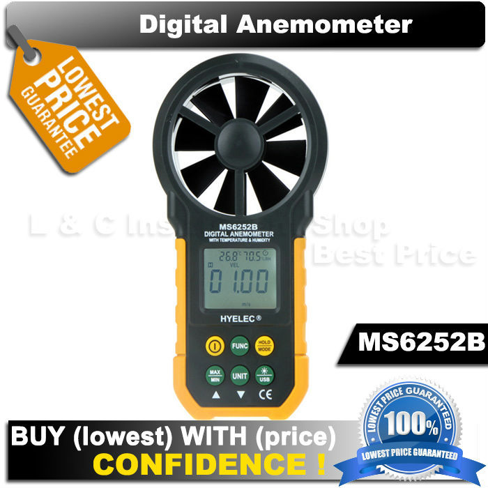 Гаджет  MASTECH HYELEC MS6252B  digital anemometer air speed velocity air flow meter with air temperature air humidity RH USB port  None Инструменты