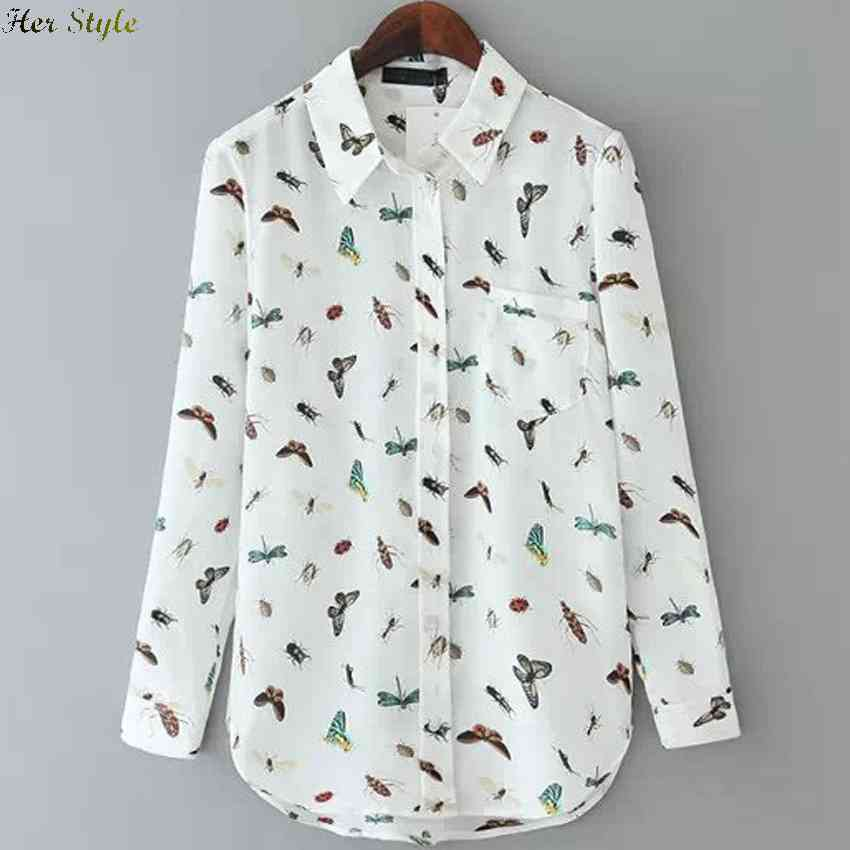 Free Shipping in the spring wind butterflies new beetle print long sleeve shirts womens slim fit 1426059657(China (Mainland))