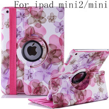 Fashion arrival cute stand flip Flower Series Pastoral Style Printed leather case cover for iPad mini 2 mini mini 3 freeshipping(China (Mainland))