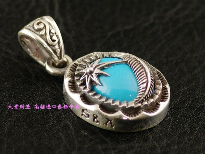 Natural turquoise 925 pure silver pendant<br>