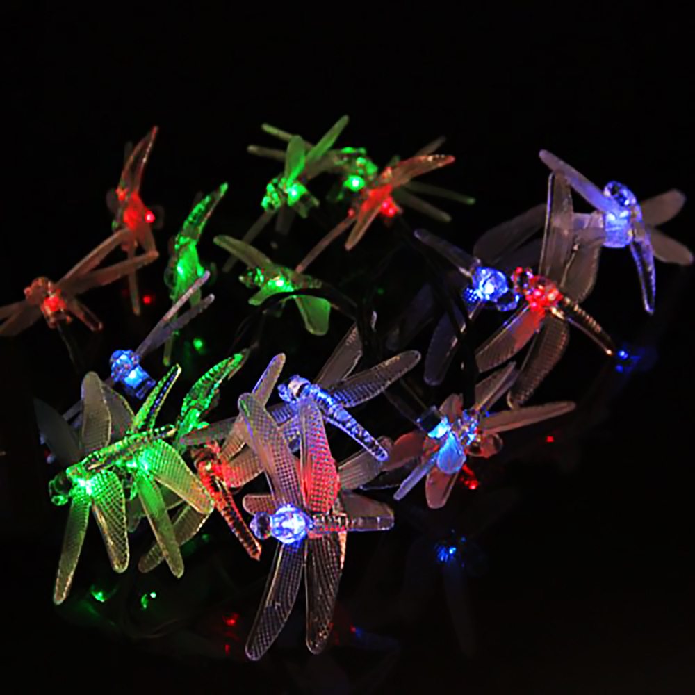 Colorful Butterfly Dragonfly Solar string lights 4.8M 20*LED Christmas Garden Decoration Fairy Lantern with rechargeable battery(China (Mainland))
